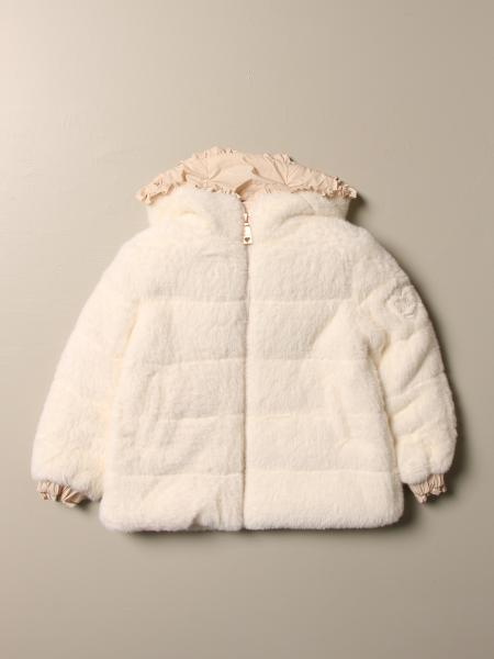 Monnalisa down jacket with hood and rouches