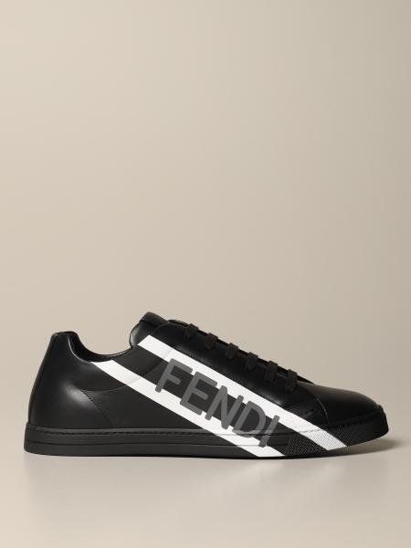 Fendi men: Fendi Low Top sneakers in leather with striped band