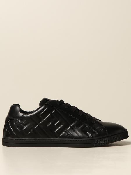 Fendi men: Fendi sneakers in leather with embossed FF logo