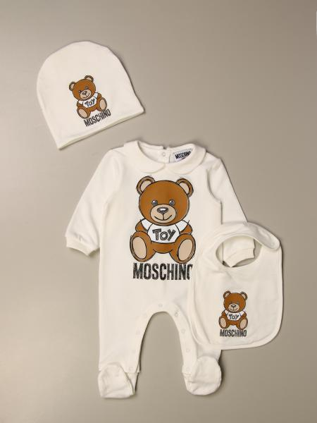 Moschino Baby footed romper + hat + bib with Teddy logo