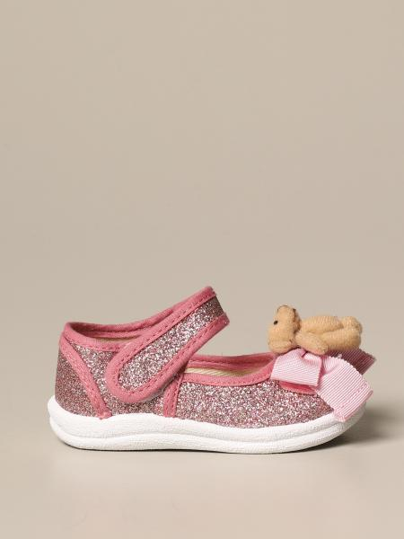 Monnalisa glitter ballet flat with teddy bear