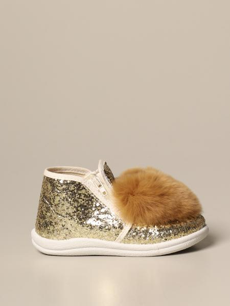 Monnalisa glitter slipper with fur heart