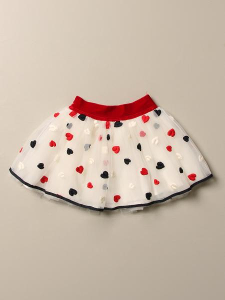 Monnalisa skirt in tulle with embroidered hearts