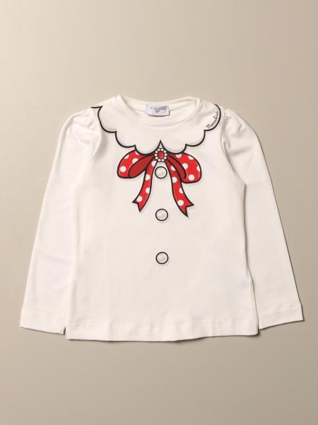 T-shirt Monnalisa in cotone con stampa fiocco e collo