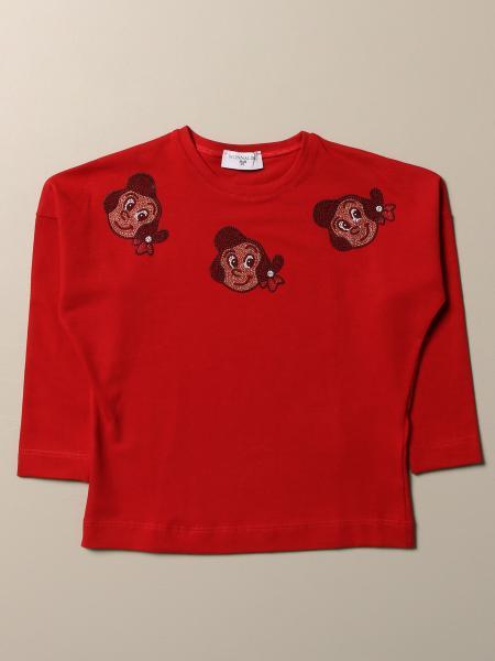 T-shirt Monnalisa in cotone con Olivia di strass
