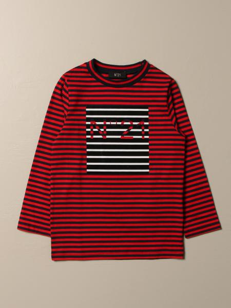 N ° 21 striped cotton T-shirt with logo