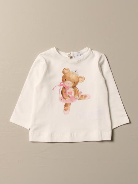 T-shirt Monnalisa in cotone con stampa orsetto