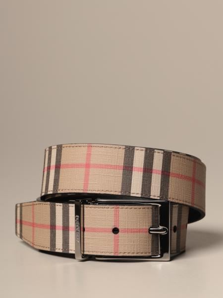 Burberry reversible belt in check leather