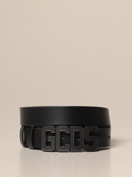 Gcds belt in smooth leather with metal buckle