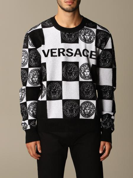 Versace wool-blend pullover with checkered jacquard Medusa logo