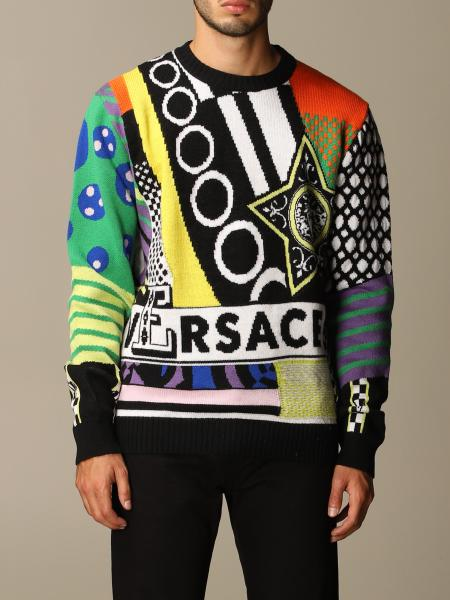 Versace wool pullover with multicolor jacquard logo