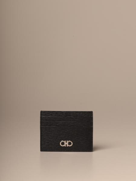 Porte-cartes de crédit Gancini Salvatore Ferragamo en cuir gaufré