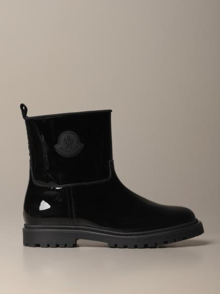 Moncler ankle boot in genuine shiny leather with logo