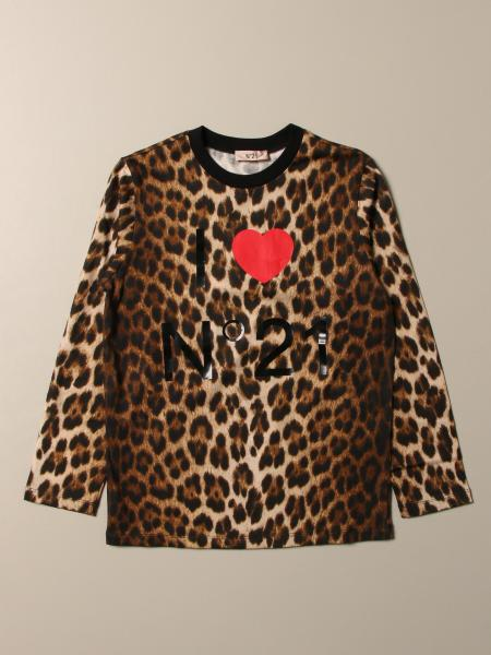 N ° 21 T-shirt in animalier cotton