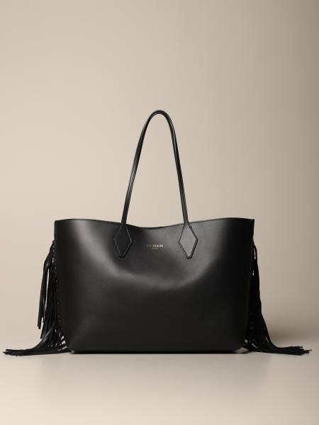 Balmain tote bag in leather with fringes