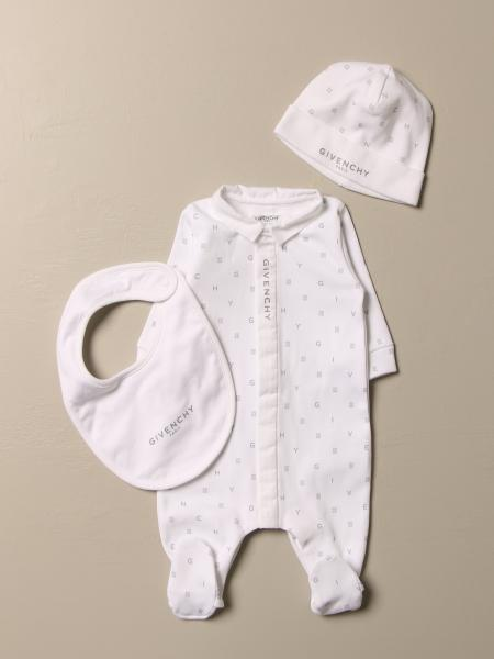 Givenchy Footed romper + bib + hat set in cotton