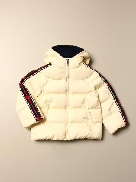 Gucci down jacket in padded nylon with Gucci GG bands