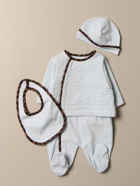 Fendi kids: Ste footed romper + hat + bib Fendi in cotton with logo