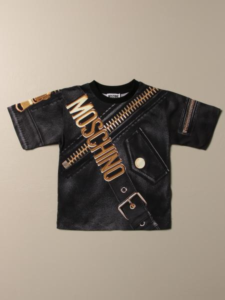 Moschino Kid t-shirt in cotton with zip and biker style logo