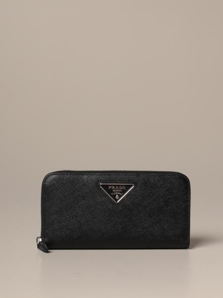 Prada continental wallet in saffiano leather with triangular logo