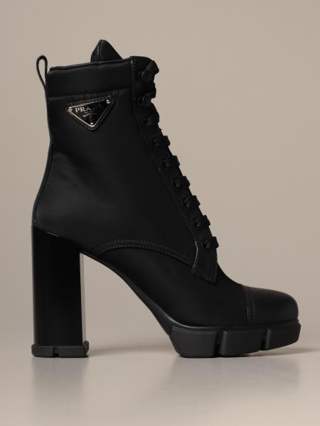Prada ankle boot in nylon and leather with triangular logo