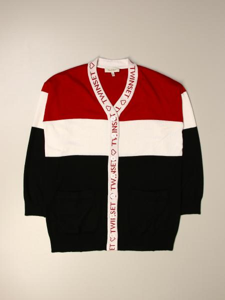Twinset kids: Twin-set tricolor cardigan with logo