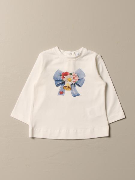 T-shirt Monnalisa in cotone con stampa fiocco e campana