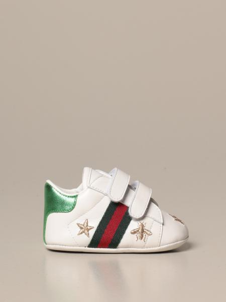 New Ace sneakers in nappa leather with Web Gucci bands and lurex embroidery of Bees and stars