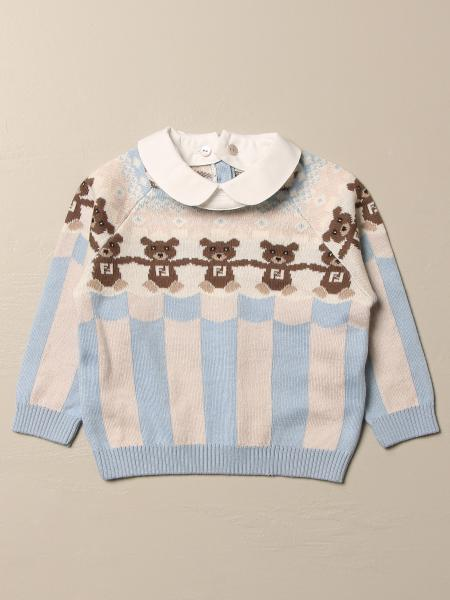 Fendi pullover with teddy bear and removable collar