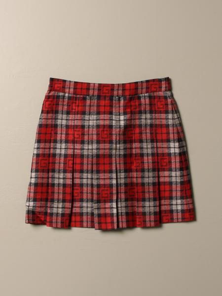 Gucci skirt in cotton and tartan silk with logo