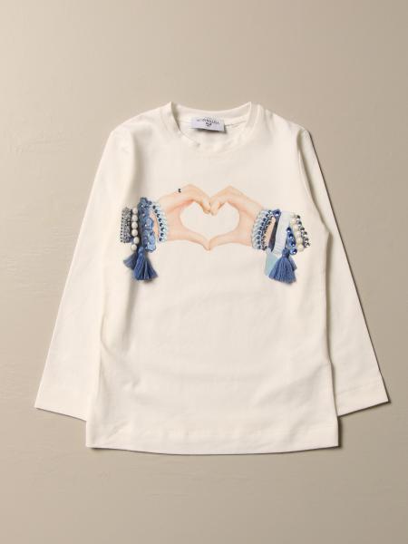T-shirt Monnalisa in cotone con stampa mani
