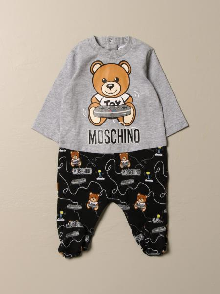 Moschino Baby footed romper with Teddy game logo