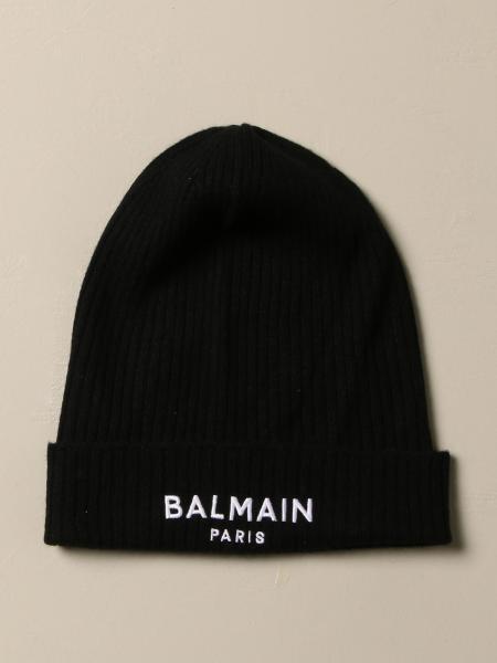 Cappello a berretto Balmain in cashmere con logo
