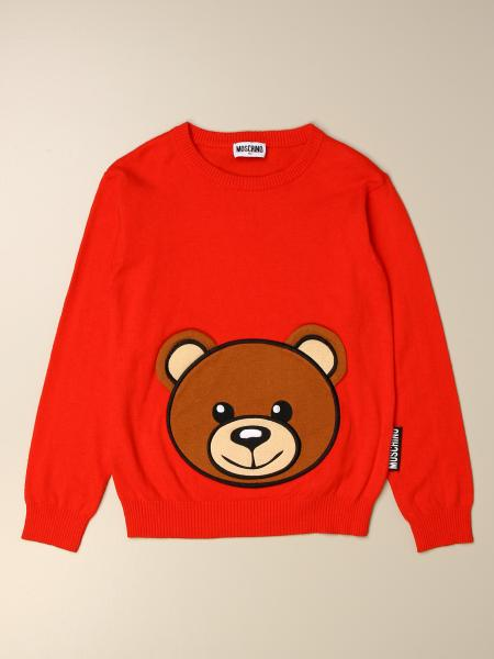Moschino Kid pullover in cotton and wool with big teddy