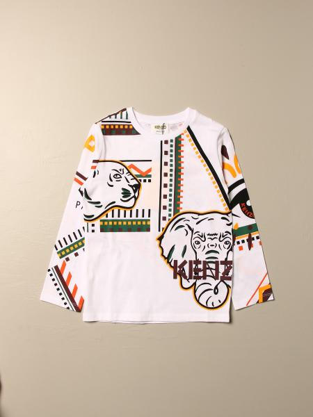 Kenzo Junior cotton T-shirt with all over Tiger Kenzo logo