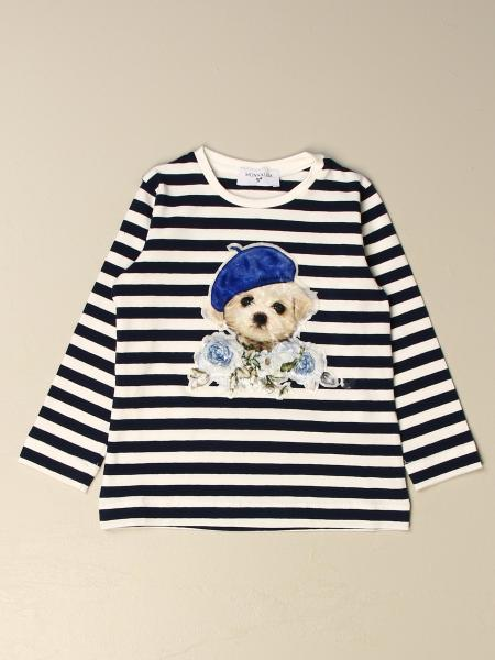 T-shirt Monnalisa in cotone a righe con stampa cagnolino