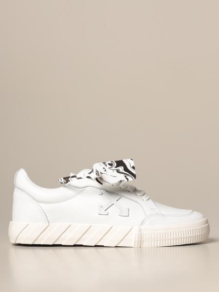 Low Vulcanized Off White sneakers in hammered leather with arrows