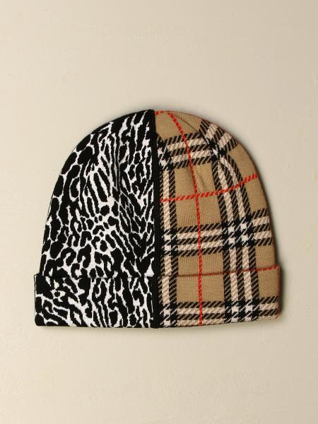 Cappello Burberry in lana Merino con motivo tartan jacquard e inserto leopardato