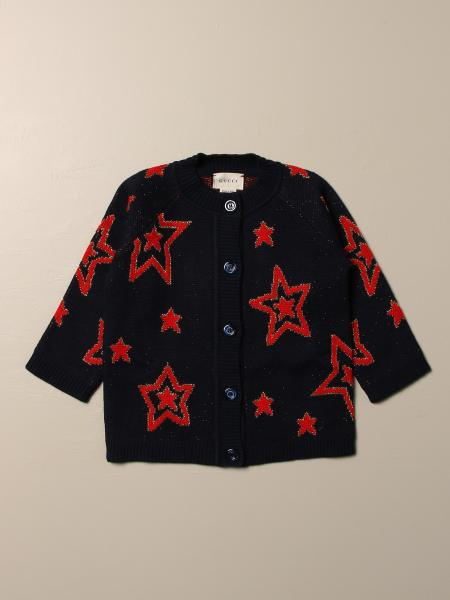 Gucci kids: Gucci wool cardigan with stars and logo