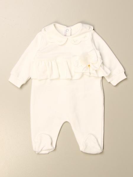 Tutina con piede Le Bebè con balza e ricami