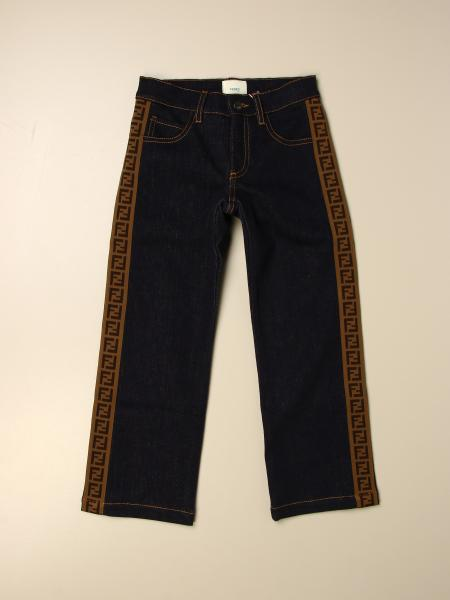 Fendi kids: Wide Fendi jeans in denim with logoed bands