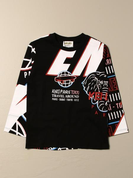T-shirt Kenzo Junior in cotone con logo e stampe all over