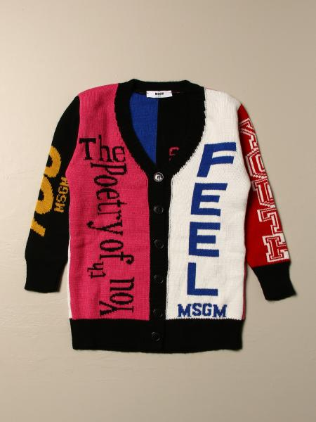 Cardigan Msgm Kids color block con scritte in jacquard