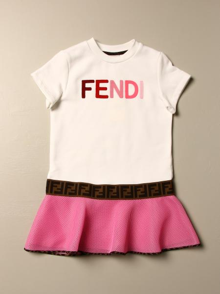 Fendi kids: Fendi t-shirt dress with mesh flounce