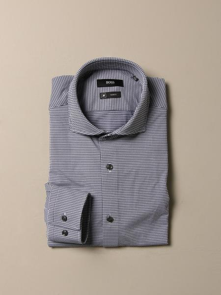 Camicia Boss a quadri con collo francese