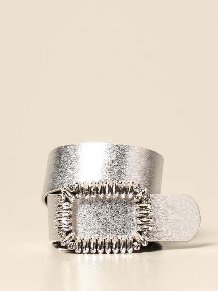 Be Blumarine: Be Blumarine belt in laminated leather with rhinestone buckle