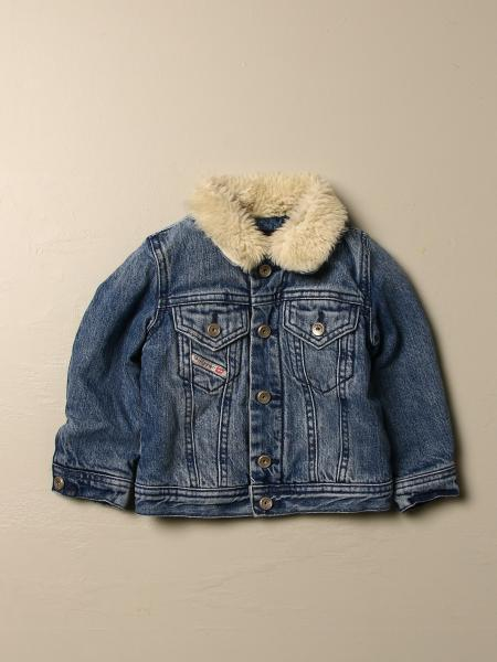 Diesel denim jacket with fur effect collar