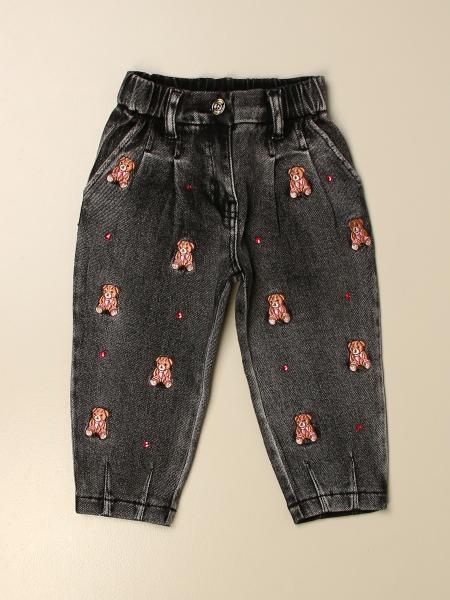 Jeans a vita alta Monnalisa con orsetti all over