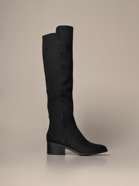 Graphite Steve Madden boots in synthetic suede with elastic band
