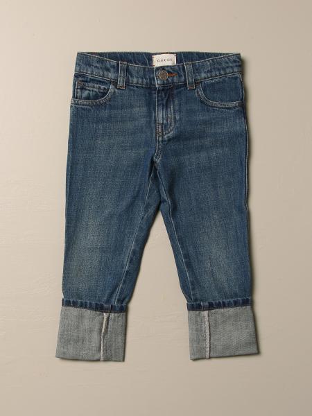 Gucci kids: Gucci jeans in cotton denim with web lapel